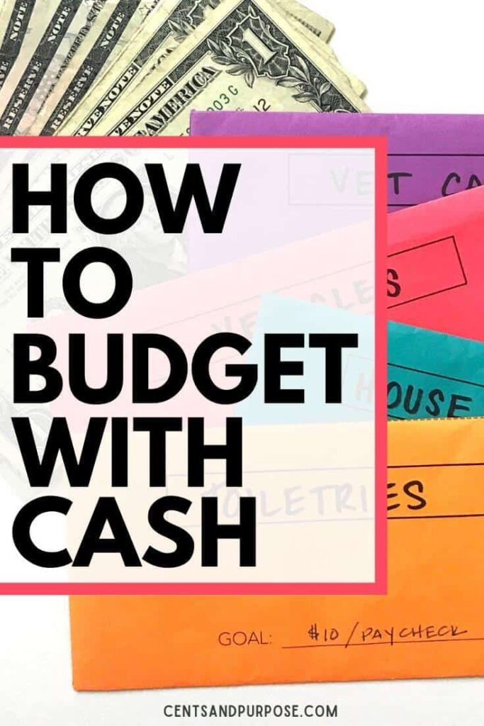 Cash and brightly colored envelopes with text that reads: How to budget with cash