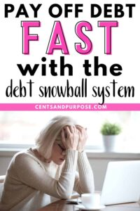 Blonde woman with her head in her hands looking upset and text that reads: Pay off debt fast with the debt snowball system