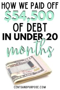 Money clip with bills and text that reads: How we paid ooff $54,500 of debt in under 20 months