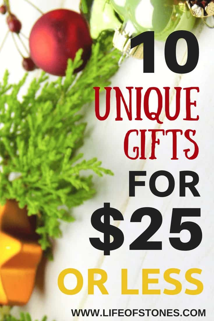 Christmas gift guide! 10 unique and interesting gift ideas for only $25 or less! Frugal gift guide - Holiday gift ideas for someone who has everything #lifeofstones #giftguide #frugalgifts #Christmasgifts