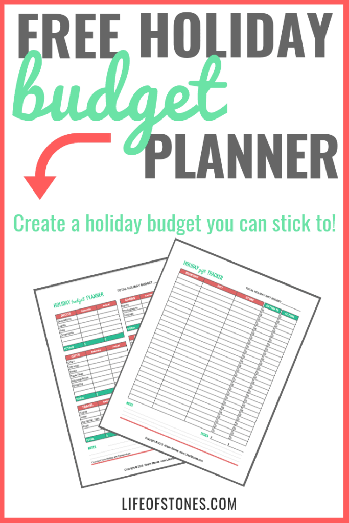 Budget planning sheets with text that reads: Free holiday budget planner - create a holiday budget you can stick to