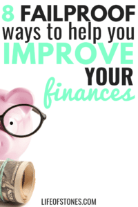 Pink piggy bank with black glasses and money and text that reads: 8 failproof ways to help you improve your finances