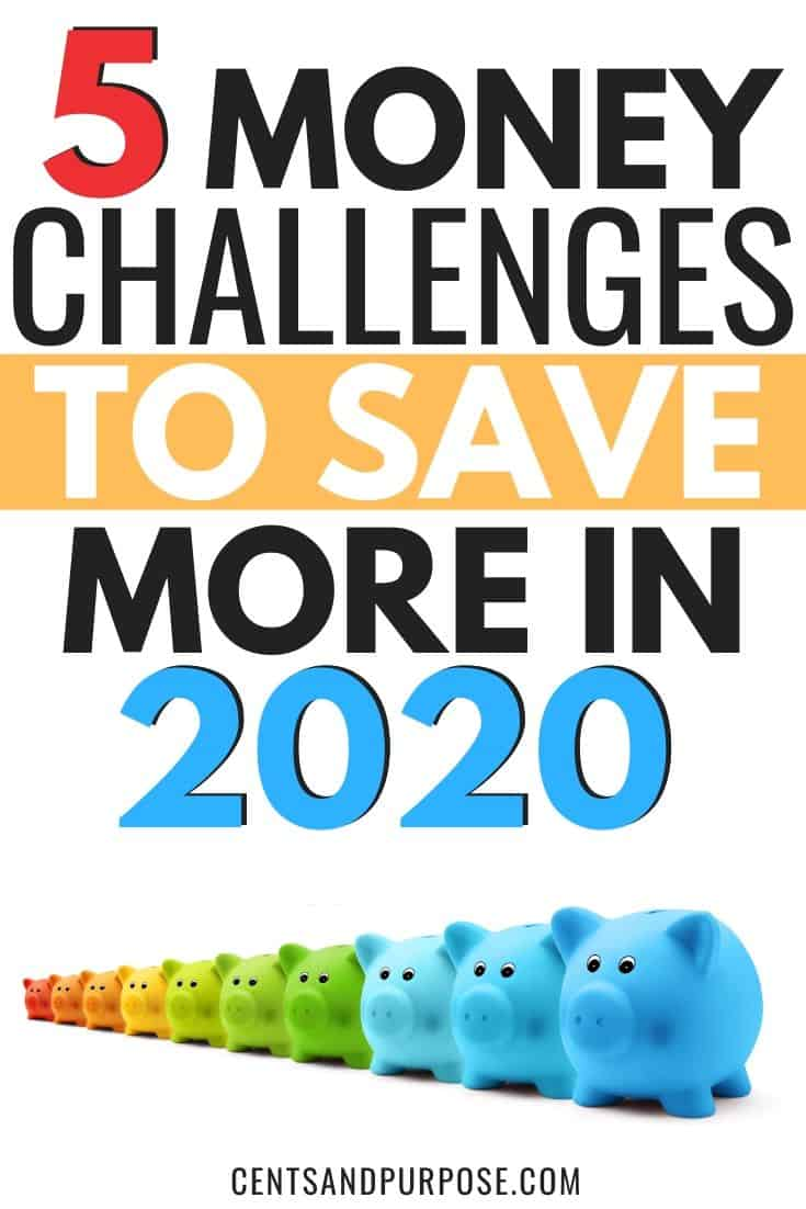 Row of colored piggy banks with text that reads 5 money challenges to save more in 2020
