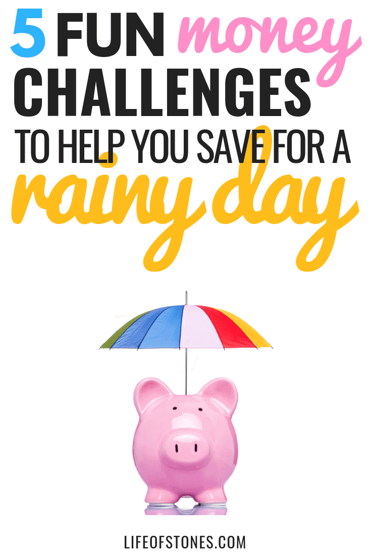 Check out these awesome savings challenges to save money in the new year! Do you need a rainy day fund? This saving money challenge helped me save up a starter emergency fund like Dave Ramsey recommends and also came with free printables to help me save money fast! #savingmoney #moneychallenge #savingschallengeprintables #lifeofstones