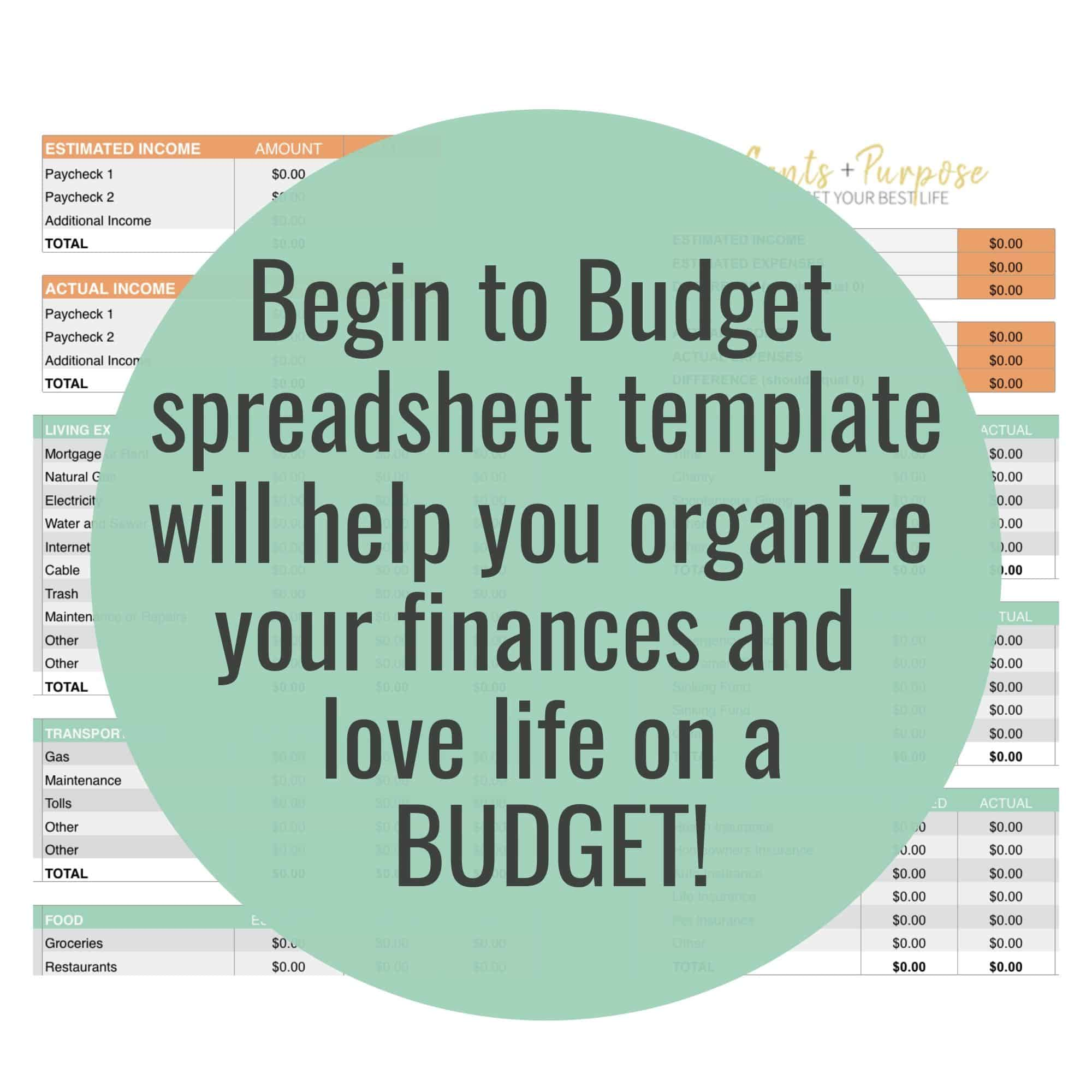 Monthly Budget Spreadsheet