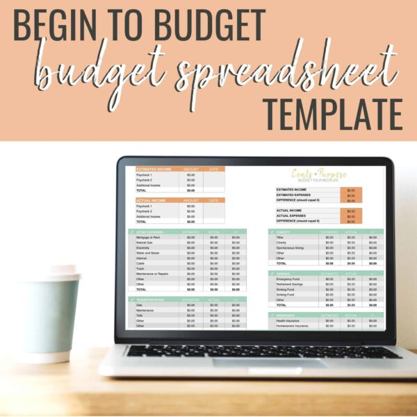 Computer with Cents + Purpose Budget Spreadsheet Template showing on the screen