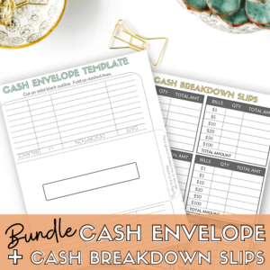 Bundle printable cash envelope template and cash breakdown slips