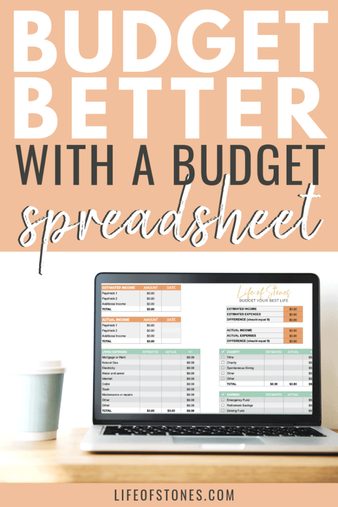 Budget better with a budget spreadsheet! Be able to track your income and expenses with this simple Excel spreadsheet! Sections for cash envelopes, debt payoff and sinking funds too! Completely customize this budgeting spreadsheet to meet your finance needs. You can even track your savings and emergency funds as well! #budget #budgetspreadsheet #sinkingfunds #lifeofstones