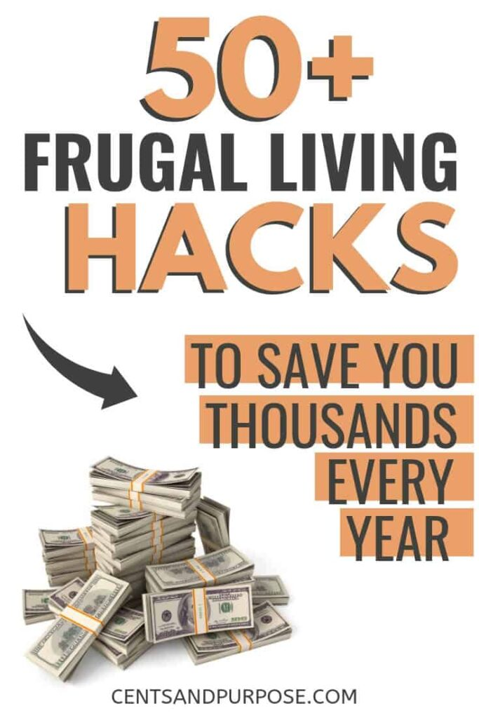 stack of money with test that reads 50+ frugal living hacks to save you thousands every year