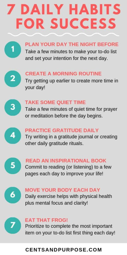 Infographic with 7 success tips