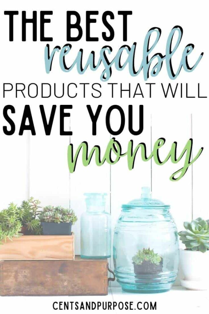 Wooden boxes and jars with plants in them and words that read The best reusable household products that will save you money