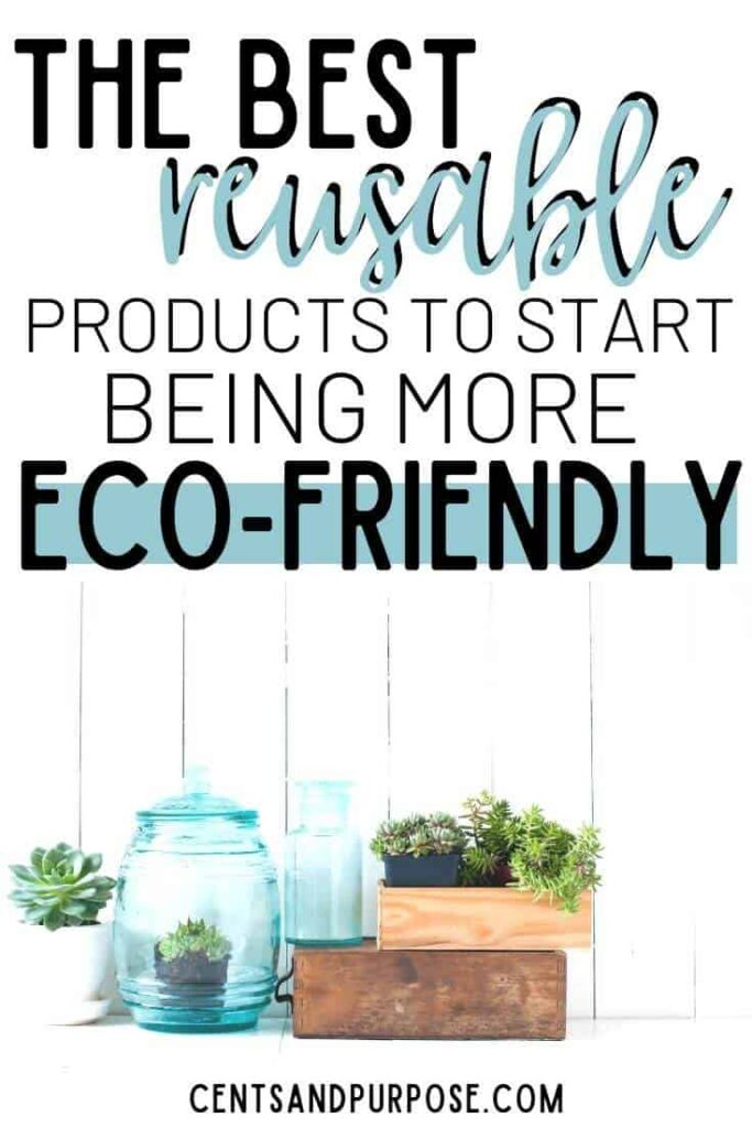 Jars and wooden boxes with plants in them and words that read The best reusable products to start being more eco-friendly