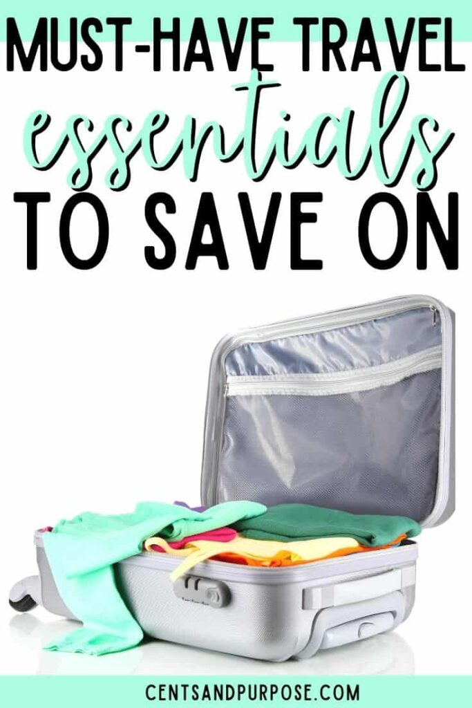 stuffed grey suitcase with clothing and text that reads must-have travel essentials to save on