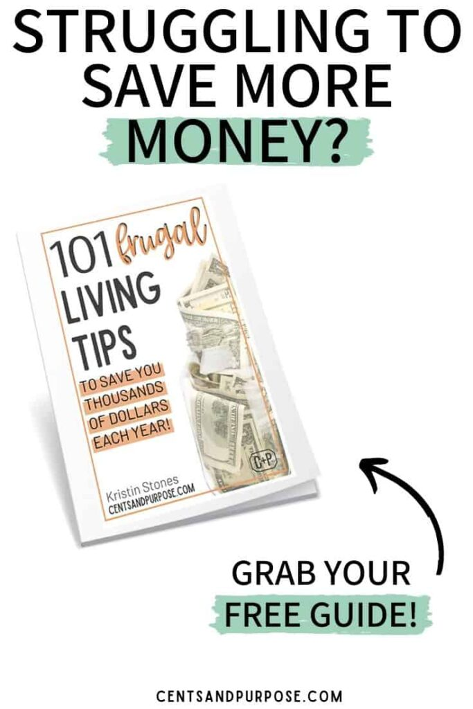 Book on white background with text that reads Struggling to save more money? grab your free guide 101 frugal living tips