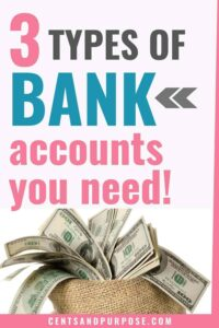 Basket with hundred dollar bills sticking out of it and text that reads: 3 types of bank accounts you need!