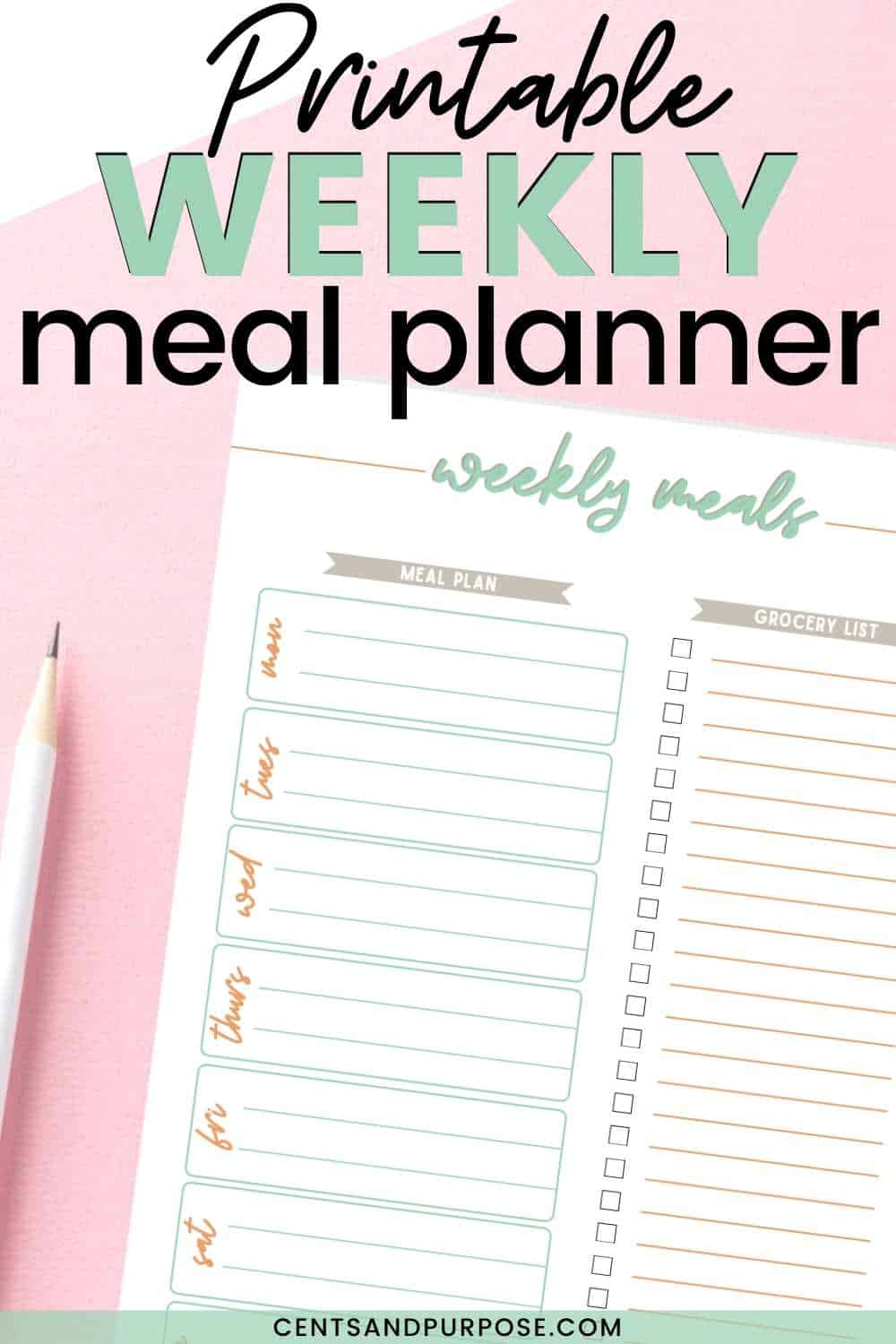 Meal planner page with grocery list, white pencil and text that reads: Printable weekly meal planner
