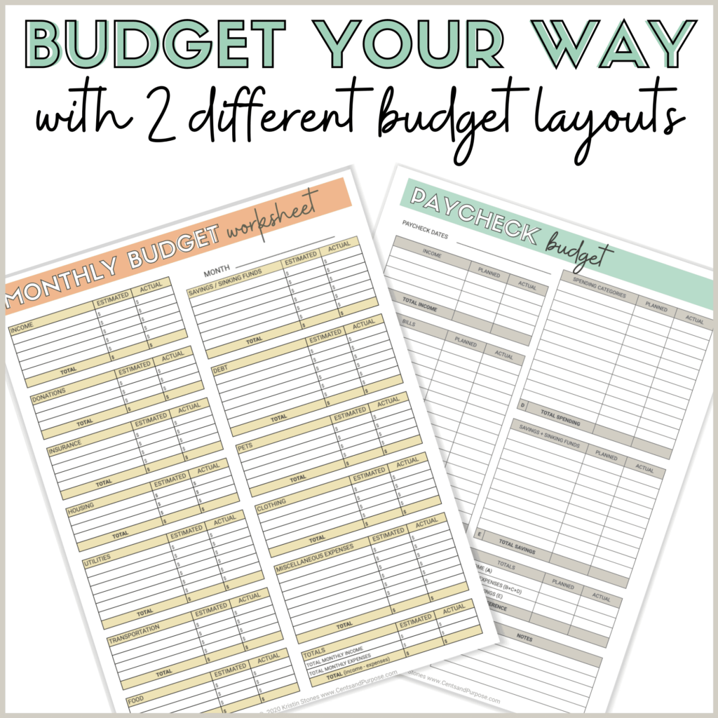 Image of budget binder pages with text that reads: Budget your way with two different budget layouts