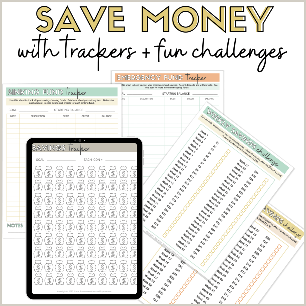 Image of tablet and budgeting printables with text that reads: Save money with trackers and fun savings challenges
