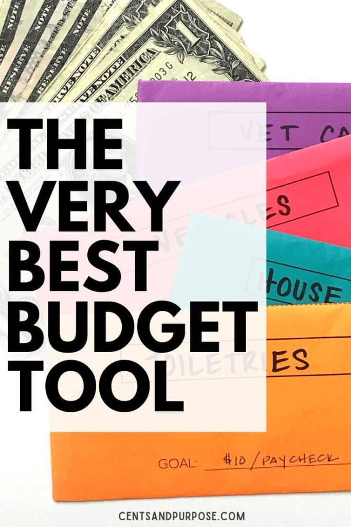 Money and brightly colored envelopes with text that reads: The very best budget tool