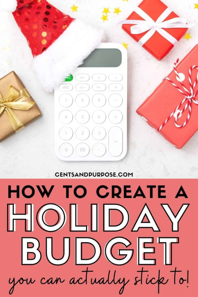 White calculator wearing a santa hat, Christmas gifts and yellow stars with text that reads: How to create a holiday budget you can actually stick to