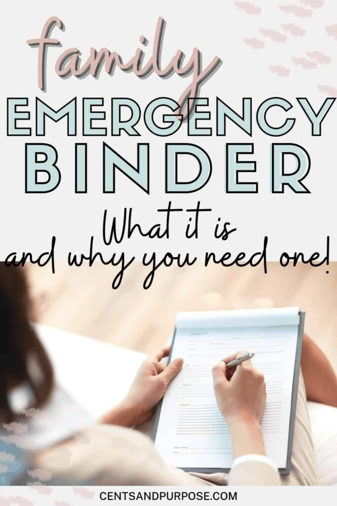 Woman filling out papers and text that reads: Family emergency binder - what it is and why you need one