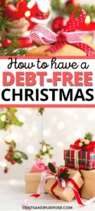Christmas presents wrapped under the tree and text that reads: How to have a debt-free Christmas