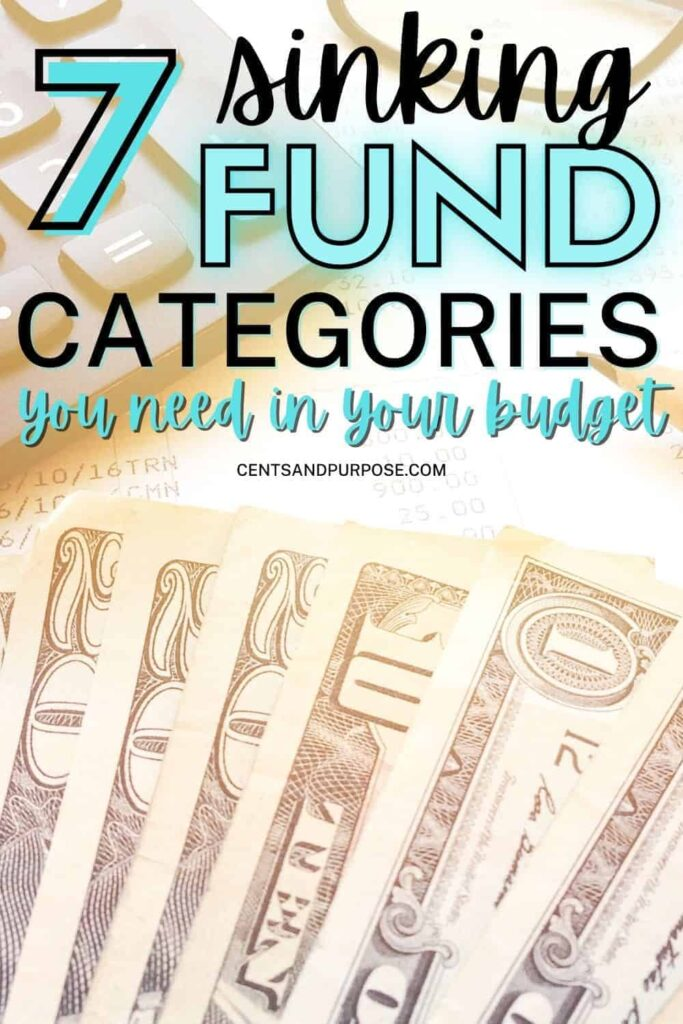 Bills, a receipt, and a calculator with  text that reads: 7 Sinking funds categories you need in your budget