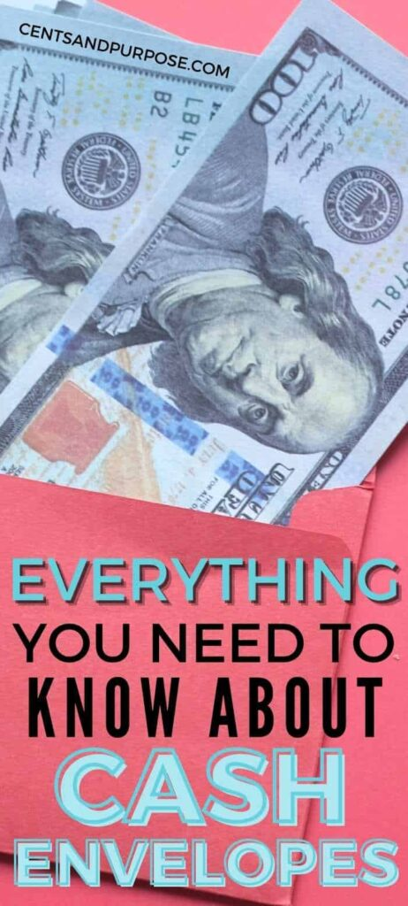 Bright pink envelope with hundred dollar bills sticking out of it and text that reads: Everything you need to know about cash envelopes.