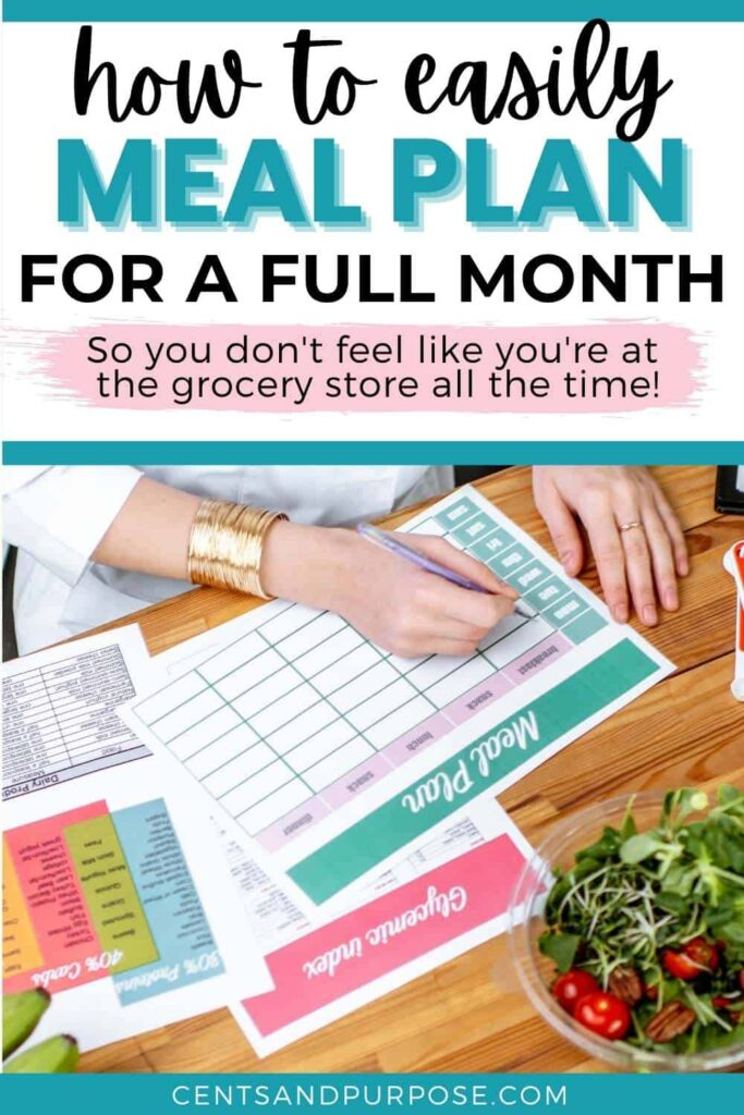Woman's hands writing a meal plan with text that reads: How to easily plan for a full month so you don't feel like you're at the grocery store all the time