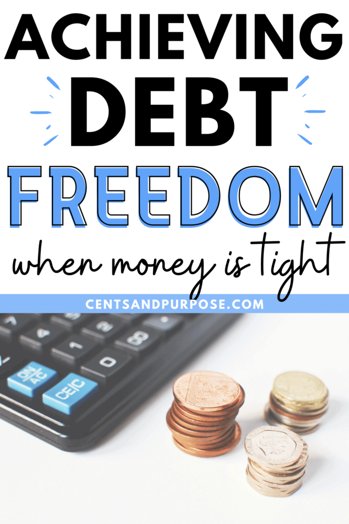Calculator and coins with text that reads: Achieving debt freedom when money is tight.