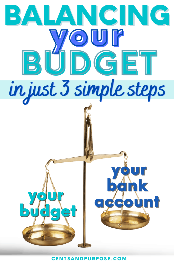 """Gold scale with one side labeled """"your budget"""" and the other """"your bank account"""" with text that reads: Balancing your budget in just 3 simple steps"""